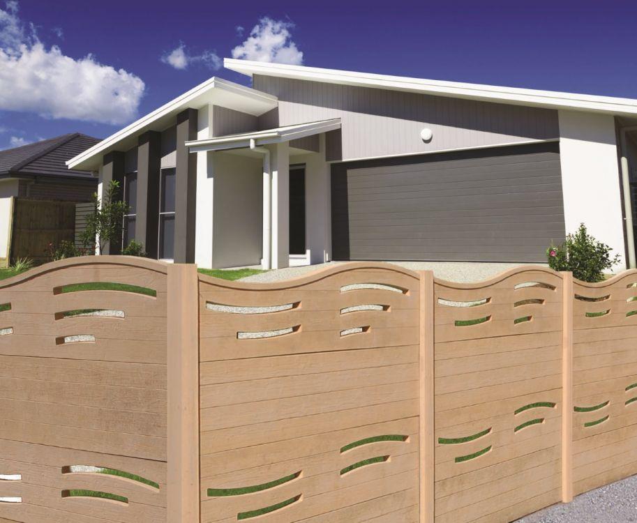 clotures en panneaux de beton imitation bois pose de. Black Bedroom Furniture Sets. Home Design Ideas